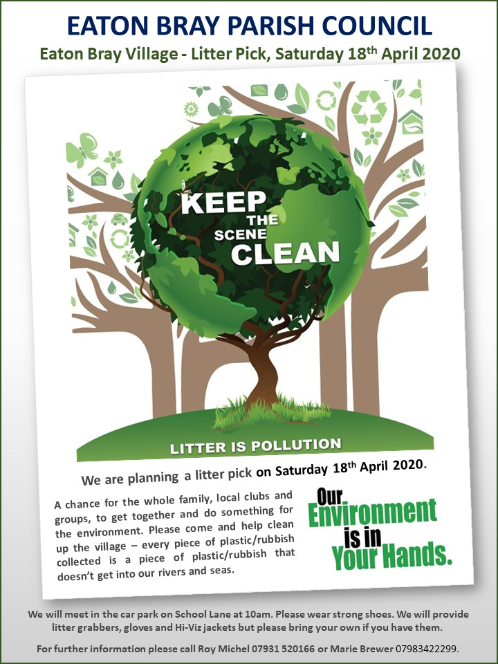Eaton Bray Litter Pick Day Poster 18042020