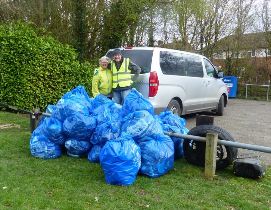 Finished & filled bags after Litter Pick Day 160319 B