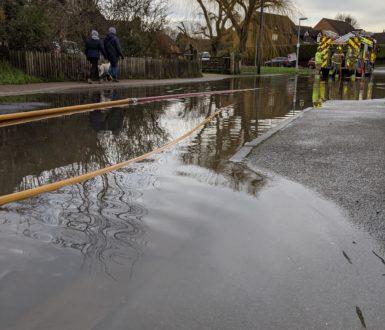 Eaton Bray high street flooded